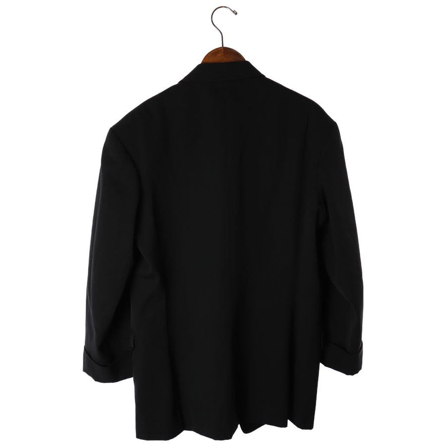 yohji yamamoto POUR HOMME/Coverall/S/Wool/BLK/Plain