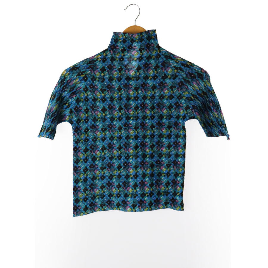 ISSEY MIYAKE/Cut & Sew/3/Polyester/BLU/All Over Print