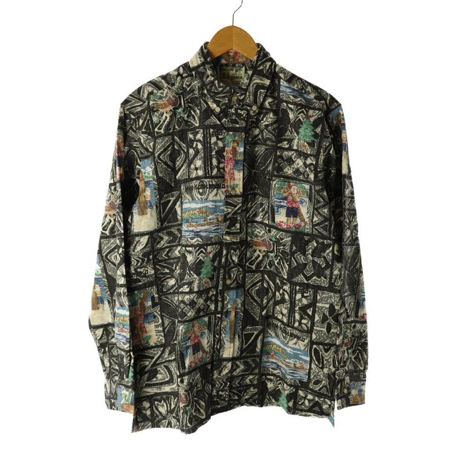 M S T / aloha shirt/M/Cotton/BLK/All Over Print/long-sleeved aloha/melekalikimaka/Christmas Limited