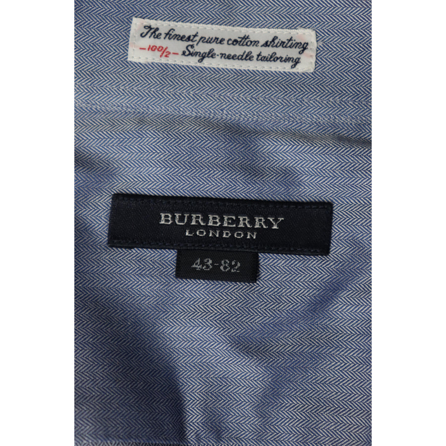 BURBERRY LONDON/LS Shirt/Cotton/BLU