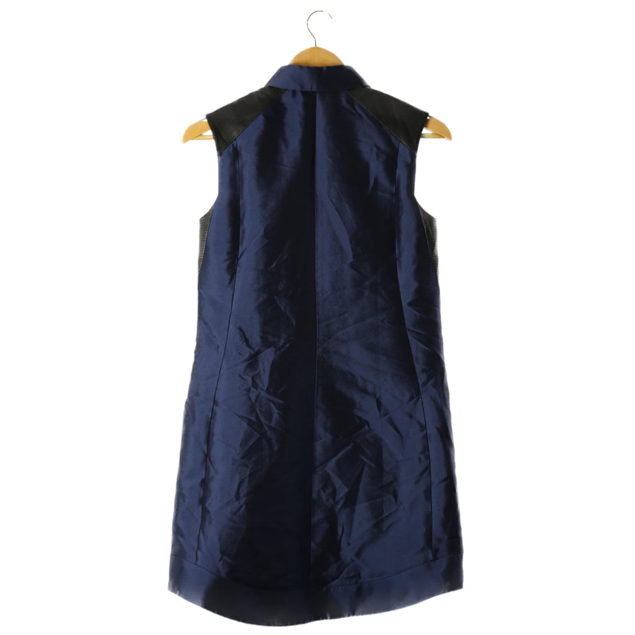 ADEAM/leather switching/Sleeveless Shirt Dress/2/wool/Navy/knee length