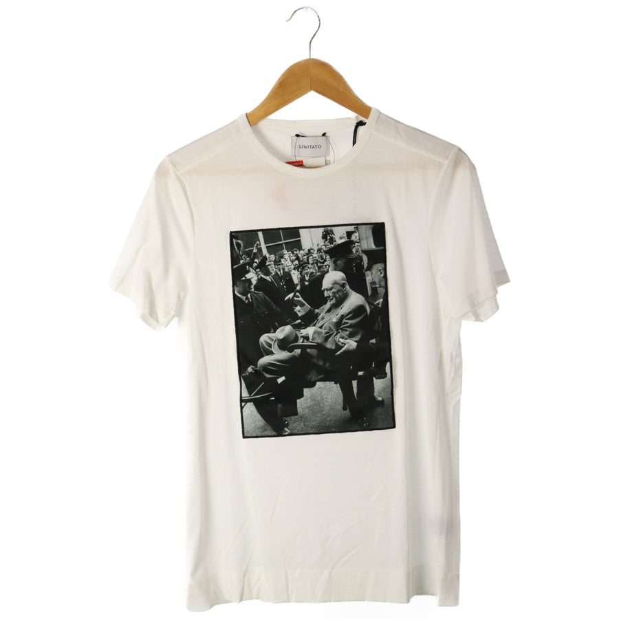 LIMITATO/Rimitato/photo patch T-shirt/S/Cotton/white/white/Portugal made
