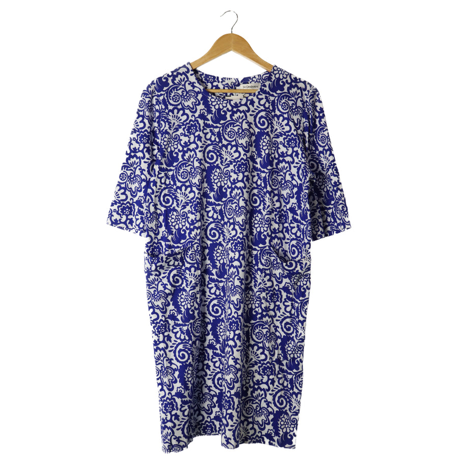 YVES SAINT LAURENT/SS Dress/L/Cotton/BLU/All Over Print