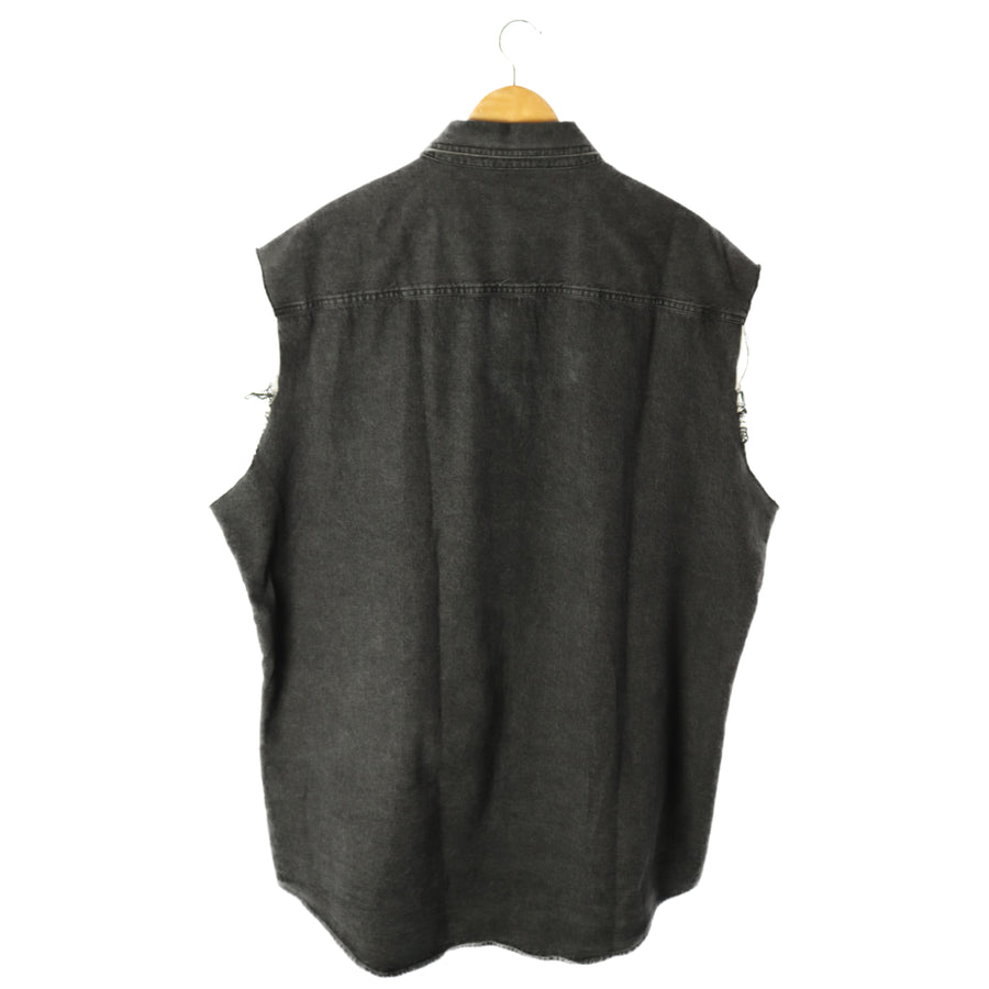 BALENCIAGA/OVERSIZE DENIM SHIRT/shirt/sleeveless/40/denim/BLK