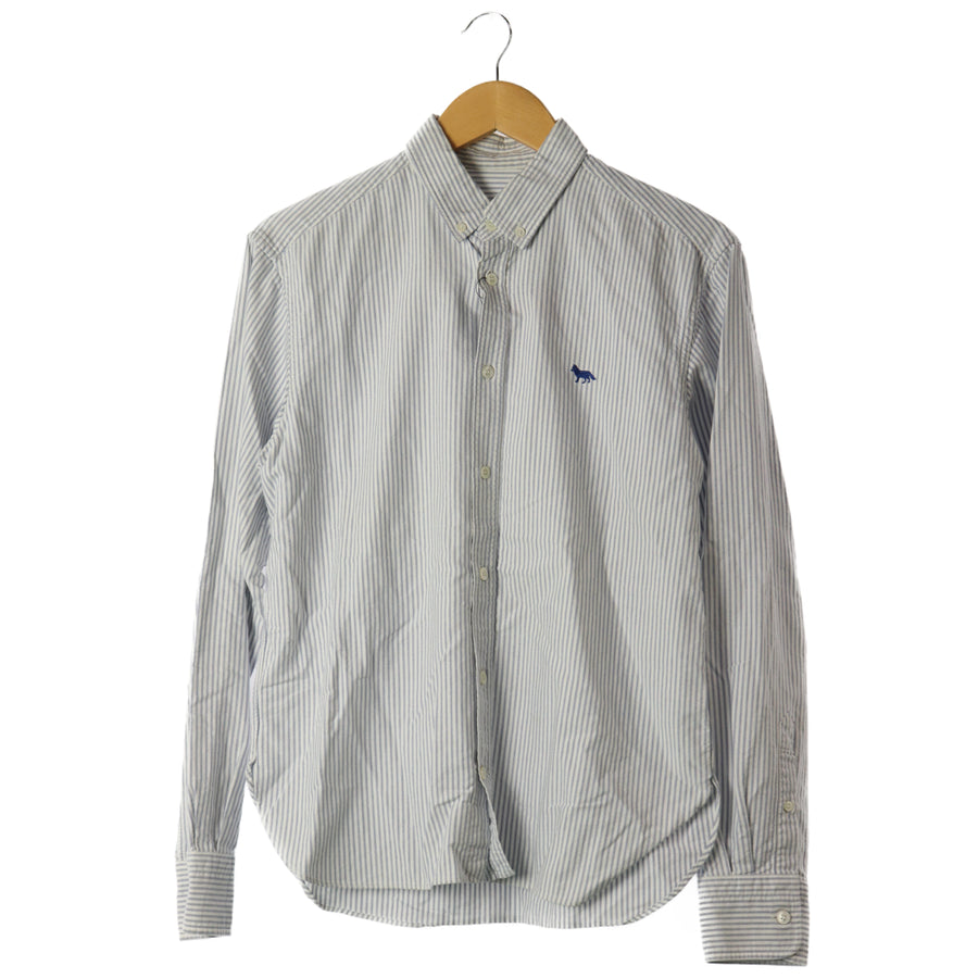 MAISON KITSUNE / LS Shirt/40/Cotton/BLU/stripe