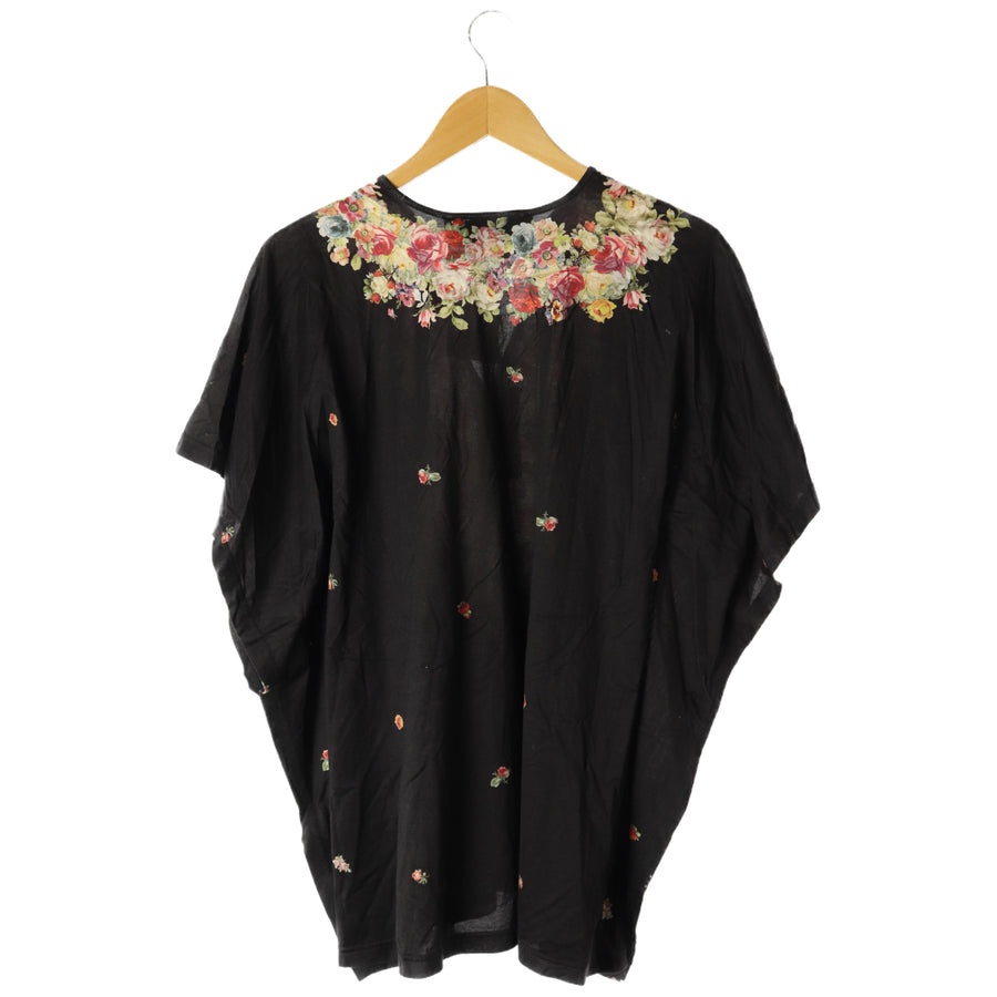 Paul Smith/SS Blouse/M/Cotton/cotton/BLK/black/All Over Print/Floral Pattern