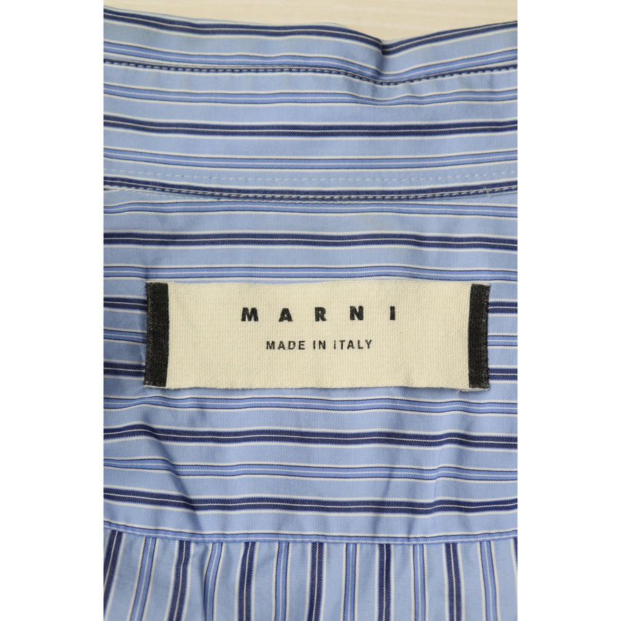 MARNI/LS Shirt/48/Cotton/BLU/stripe