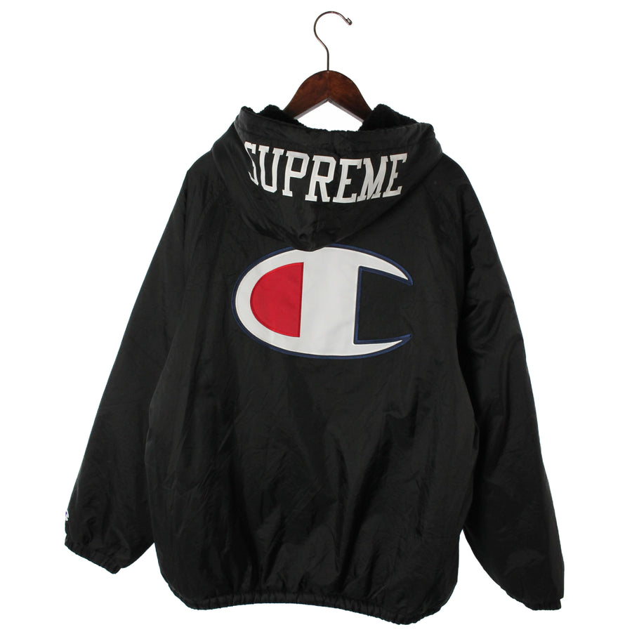 Supreme/17AW/Champion Sherpa Lined Hooded Jacket/XL/Nylon/BLK/