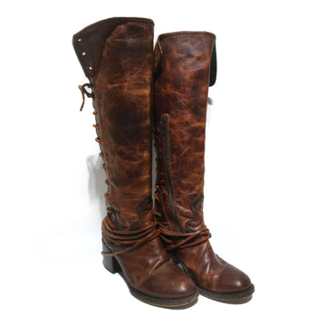 FREEBIRD/Long Boots/US7/BRW/Leather/Plain