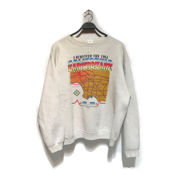 Vintage/EARTHQUAKE/Sweatshirt/./WHT/Cotton/Graphic