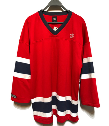 STUSSY/HOCKEY JERSEY/Cut & Sew/L/RED/Others/Graphic