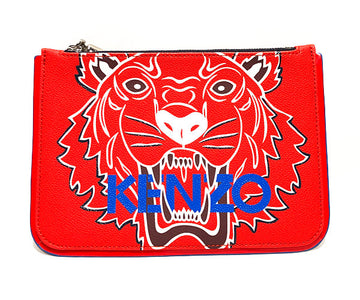 KENZO//Pouch//RED/Leather/Graphic