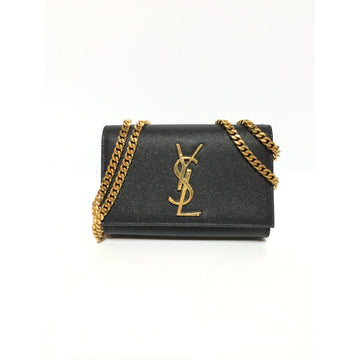SAINT LAURENT/NOIR/GOLD/Cross Body Bag/BLK/Leather/Plain