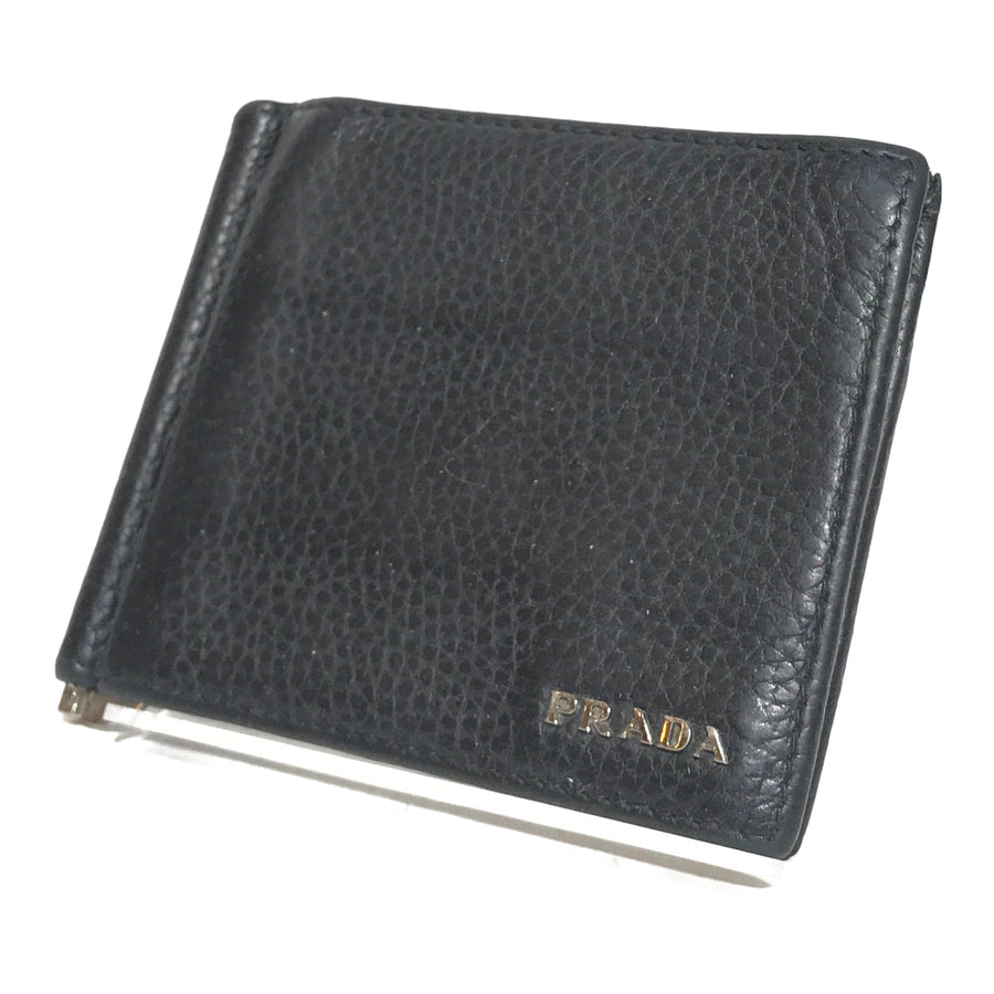 PRADA/MONEY CLIP/Wallet//BLK/Leather/Plain