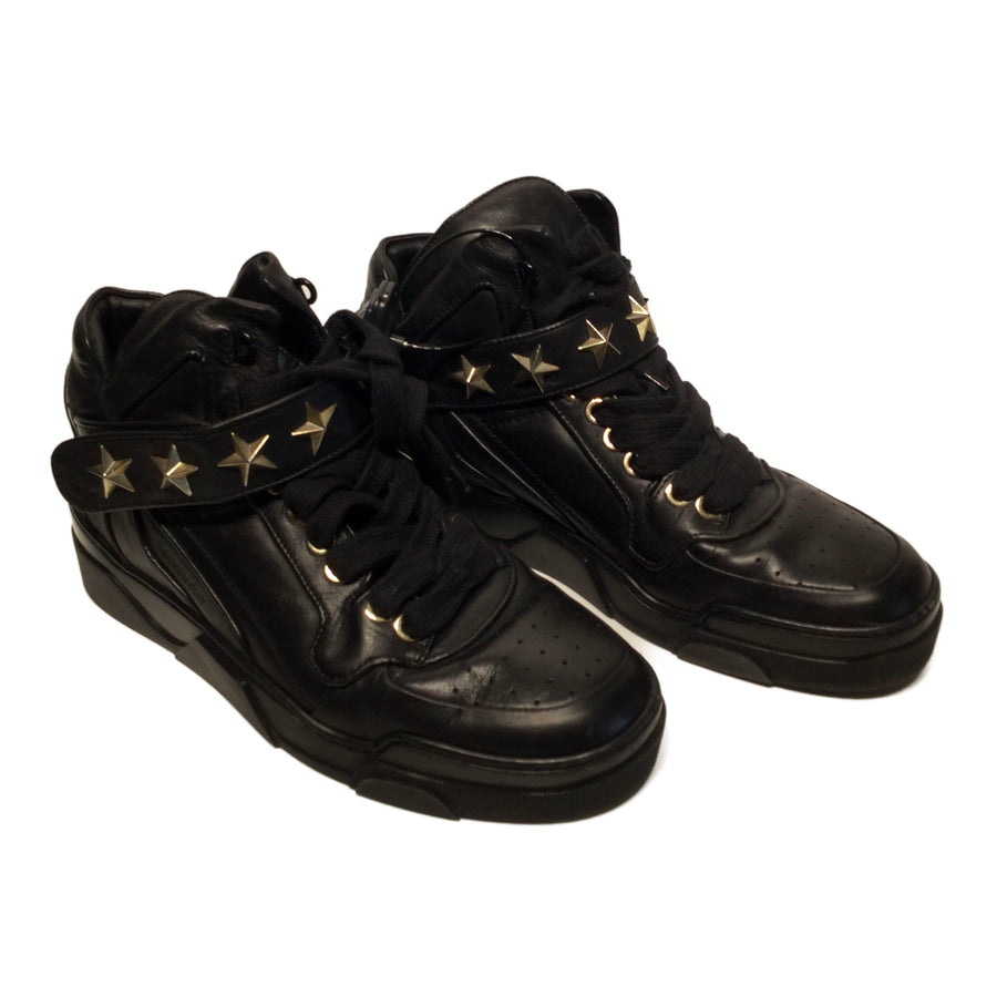 GIVENCHY/TYSON STAR/Hi-Sneakers/10/BLK/Leather/Plain