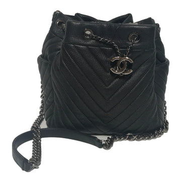 CHANEL//Cross Body Bag//BLK/Leather/Plain