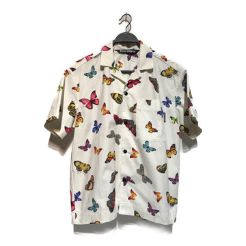 PALM ANGELS/BUTTERFLY/SS Shirt/38/WHT/Nylon/Animal Pattern