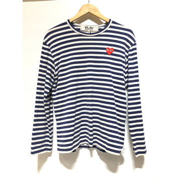 PLAY COMME des GARCONS/L/LS T-Shirt/NVY/Cotton/Stripe