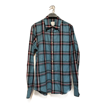 sandro//LS Shirt/S/BLU/Cotton/Plaid