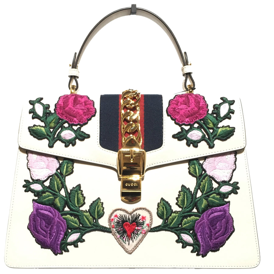 GUCCI/CALFSKIN EMBROIDERED/Hand Bag/WHT/Leather/Floral Pattern