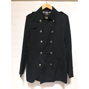 BURBERRY BLACK LABEL/L/Trench Coat/NVY/Cotton/Plain