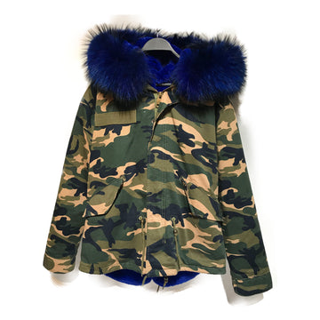 CAMO BLUE/Jacket/./MLT/Cotton/All Over Print