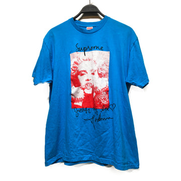 Supreme//T-Shirt/L/BLU/Cotton/Graphic