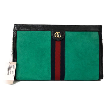 GUCCI/PLAIN/Clutch Bag/F/GRN/Leather/Plain