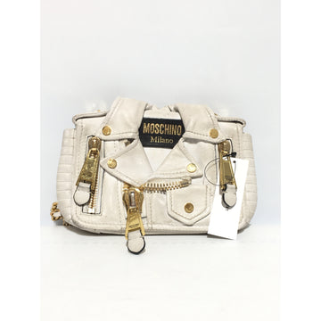 MOSCHINO//Cross Body Bag/WHT/Leather/Plain