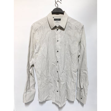 DOLCE&GABBANA/49/LS Shirt/WHT/Cotton/Stripe
