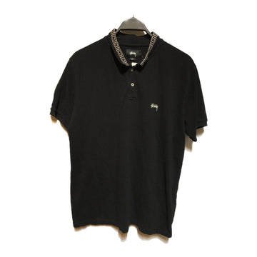 STUSSY//Polo Shirt/L/BLK/Cotton/Monogram