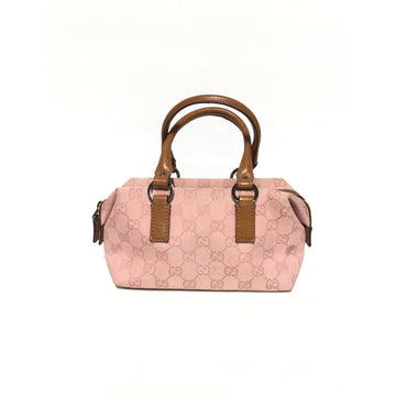 GUCCI/LEATHER HANDLE/Hand Bag/PNK/Cotton/Monogram