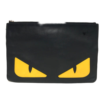 FENDI/EYES /Clutch Bag/./BLK/Leather/Plain