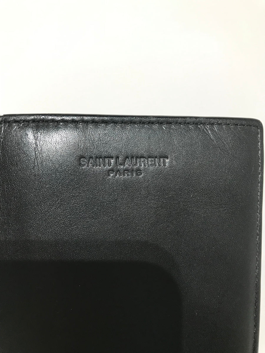 SAINT LAURENT/Long Wallet/Leather/BLK