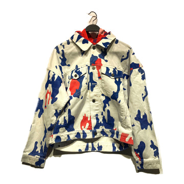 424(FourTwoFour)//Denim Jkt/M/WHT/Cotton/Animal Pattern