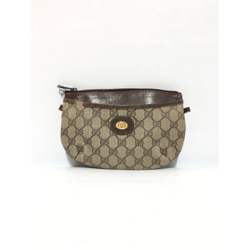 GUCCI/VINTAGE/Pouch/BRW/Leather/Monogram