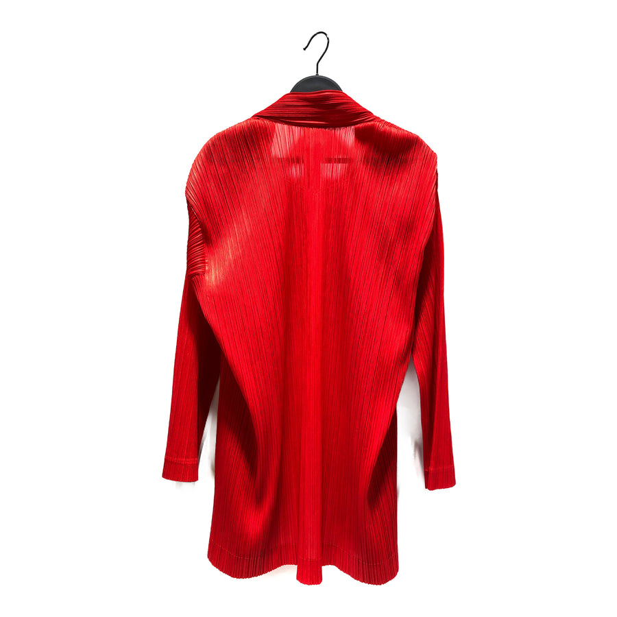 PLEATS PLEASE ISSEY MIYAKE/LS Blouse/M/Polyester/RED/PP33-JD608