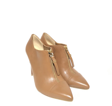 MICHAEL KORS/LEATHER BOOTIE /Ankle Boots/US6.5/CML/Leather/Plain
