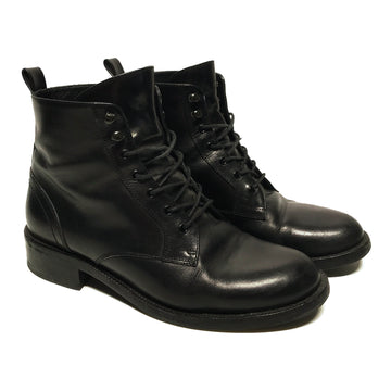 SAINT LAURENT//Lace Up Boots/37.5/BLK/Leather/Plain