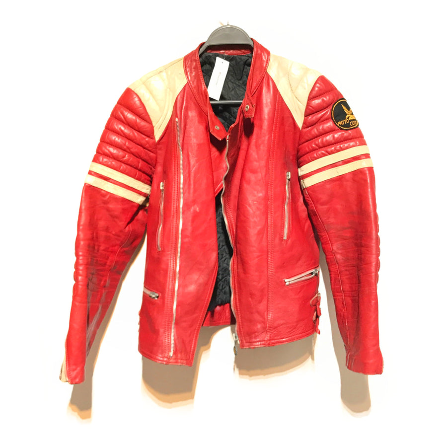 VINTAGE/Leather Jkt/S/RED/Leather/Plain