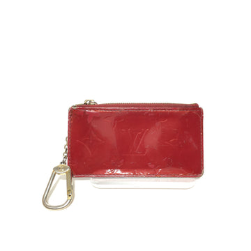 LOUIS VUITTON/Monogram Vernis Key Pouch/Coin Wallet/RED/Leather/Monogram