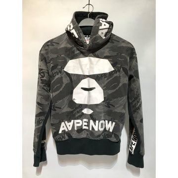 AAPE BY A BATHING APE/S/Hoodie/BLK/Cotton/All Over Print