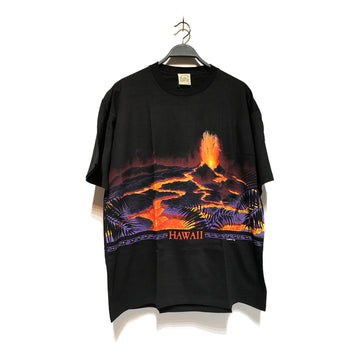 Vintage/HAWAII VOLCANO/T-Shirt/XL/BLK/Cotton/Graphic