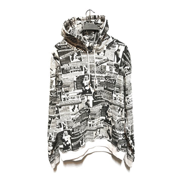 FUCT/NEWSPAPER HEADLINES/Hoodie/XL/WHT/Cotton/All Over Print