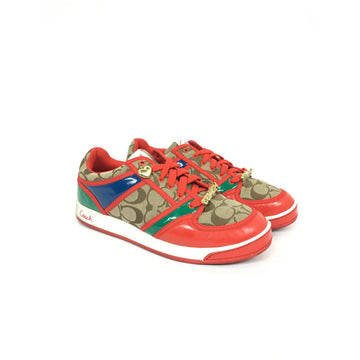 COACH/9.5/Low-Sneakers/RED/Cotton/All Over Print
