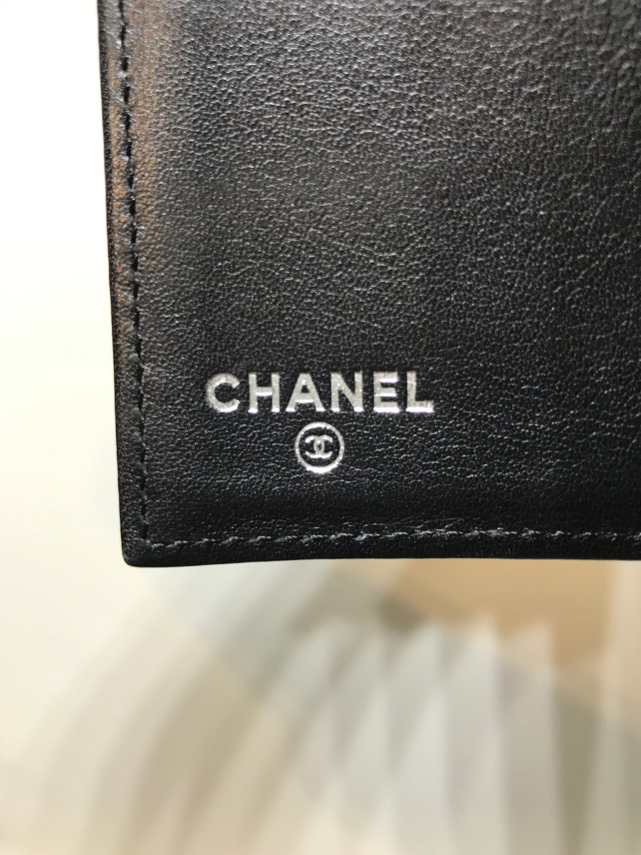 CHANEL//Long Wallet/BLK/Leather/Plain