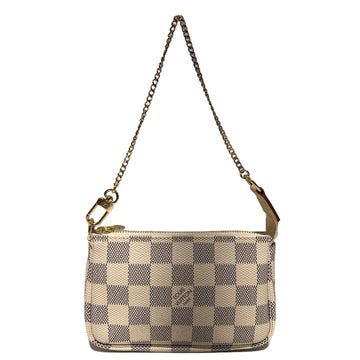 LOUIS VUITTON/DAMIER AZUR MINI POCHETTE/Pouch//WHT/Others/Plaid