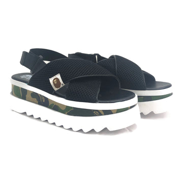 A BATHING APE/platform sandals/US5/BLK/Shark Sole/mesh