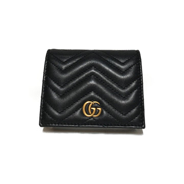 GUCCI/GG MARMONT CARD CASE/Card Case//BLK/Leather/Plain