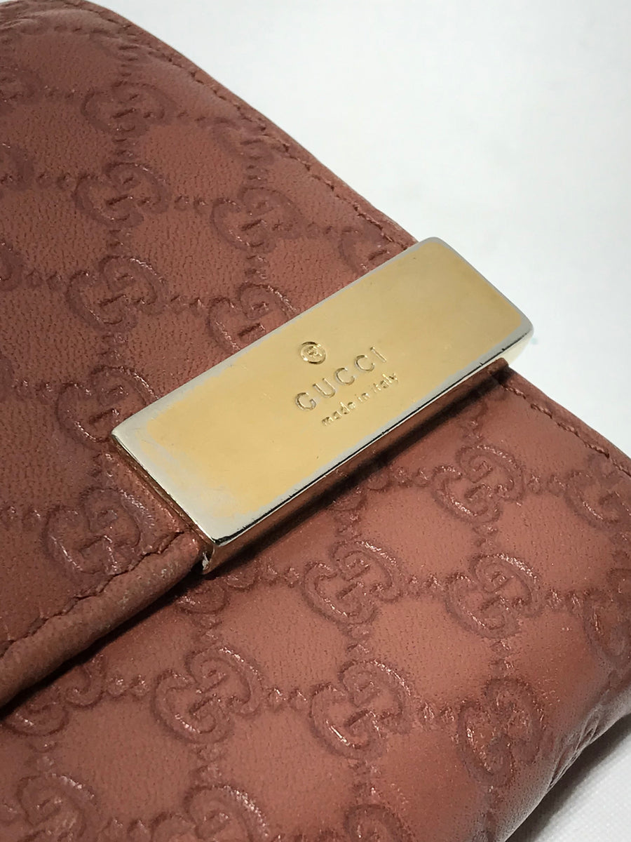 GUCCI/MICROGUCCISIMA CHAIN WALLET/Wallet//PNK/Leather/Monogram